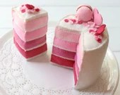 Ombre Cake, Mini Felt Layer Cake, Play Food, Pretend Food, Pretend Play, Layered Cake, Tea Party, Strawberry, Macaron, Pink, Hearts, Rainbow