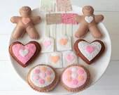 Tea for Two Felt Tea Set - Play Food Tea bag Biscuit Sugar Cookie & Gingerbread Felt Food Play Set, Sweet Tea Party, Gift for Girls