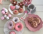 Tea Party Felt Tea Set, Play Food, Donuts, Biscuits, Sugar Cookies, Choc Chips, Jam Drop, Cupcake, Marshmallows, Gingerbread, Pretend Play