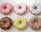 Felt Donuts - Set of 6 Donuts for Pretend Play, Felt Food, Play Food, Tea Party, Raspberry Strawberry Vanilla Chocolate Caramel Banana