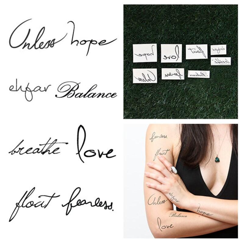Juego De Palabras Tatuaje Temporal Pack Juego De 16 Etsy
