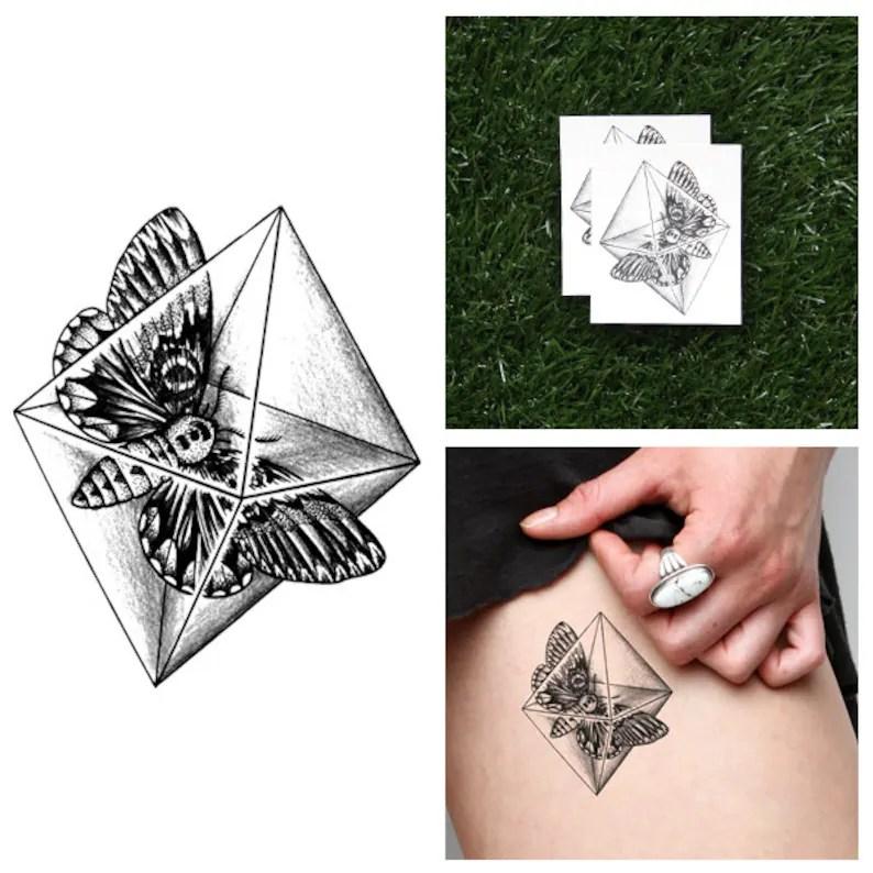 Polilla De Cristal Tatuaje Temporal Juego De 2 Etsy