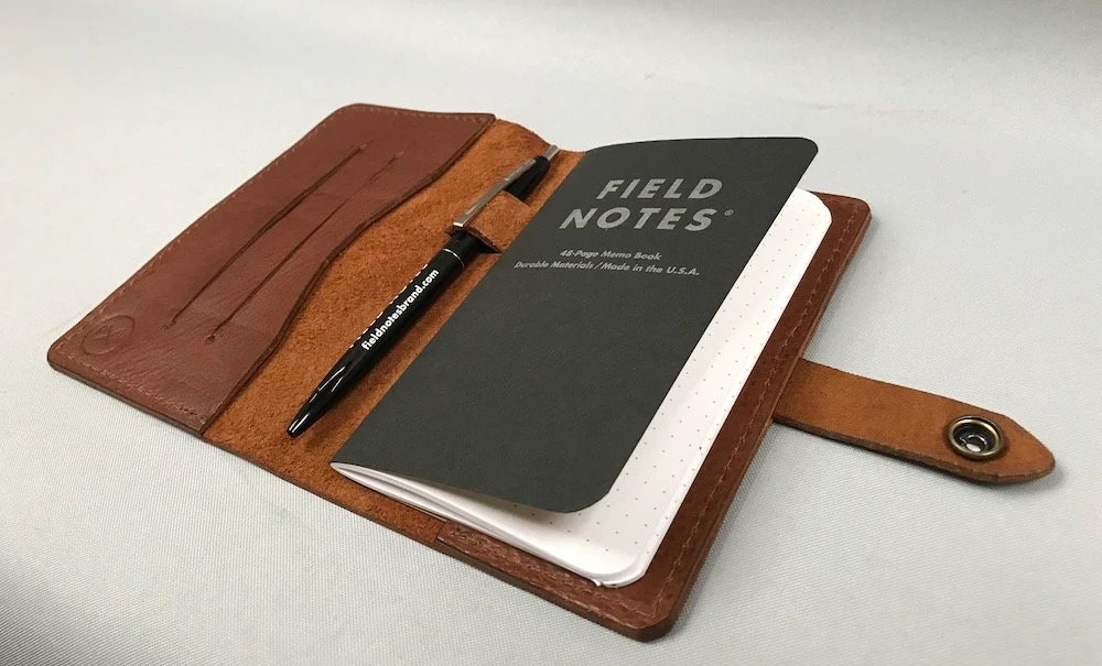personalised leather field notebook