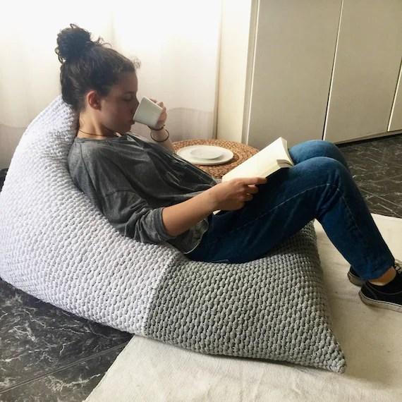 adult bean bag stuhl liege riesenboden kissen pouf grosse tagbett kissen hand stricken sitzsack fur lounge raum