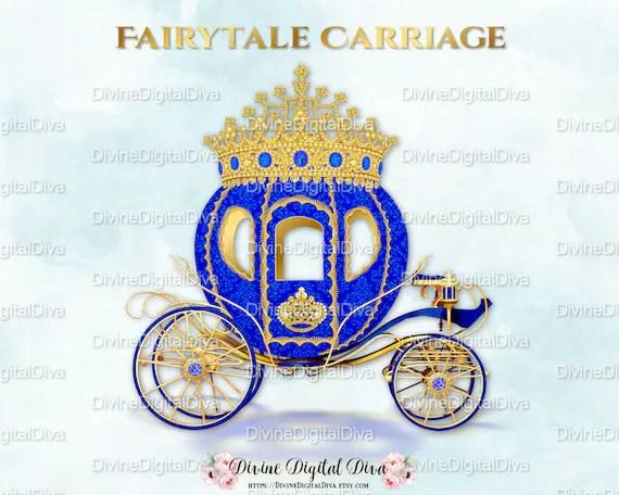 Royal Blue Gold Prince Princess Cinderella Fairytale Carriage