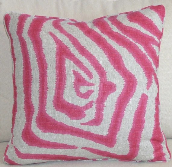 Fuchsia and Natural Zebra Pillow cover self welted pink linen pillow custom Decorative Designer Pillow Covers 20x20