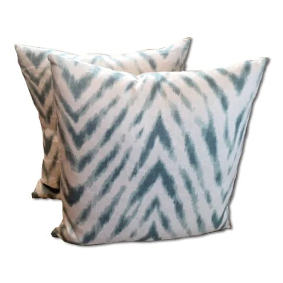 Aqua blue  and White large chevron pillow covers