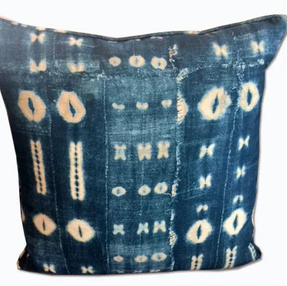 Agean blue and ivory sakai print decorative pillow