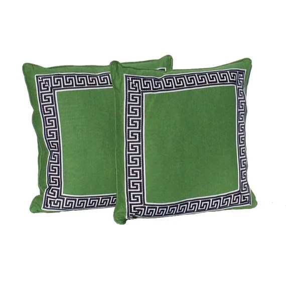 """Decorative Pillow Covers – Kelly Green with Navy and White Geometric Border - Designer Fabric- 20"""" Pillows - Hidden Zipper Closure"""