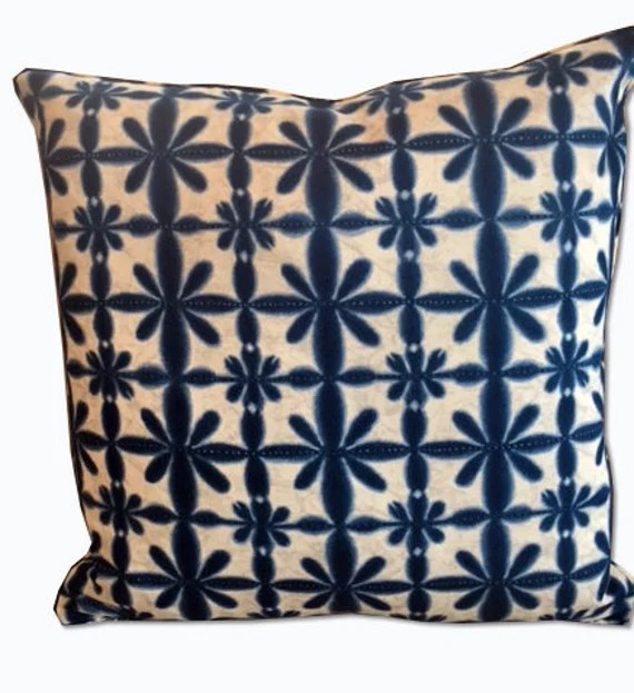 Navy and Ivory Decorative pillow cover