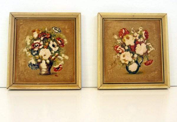 Vintage Pair 3d Floral Wall Decor Wood Frames - Atlas