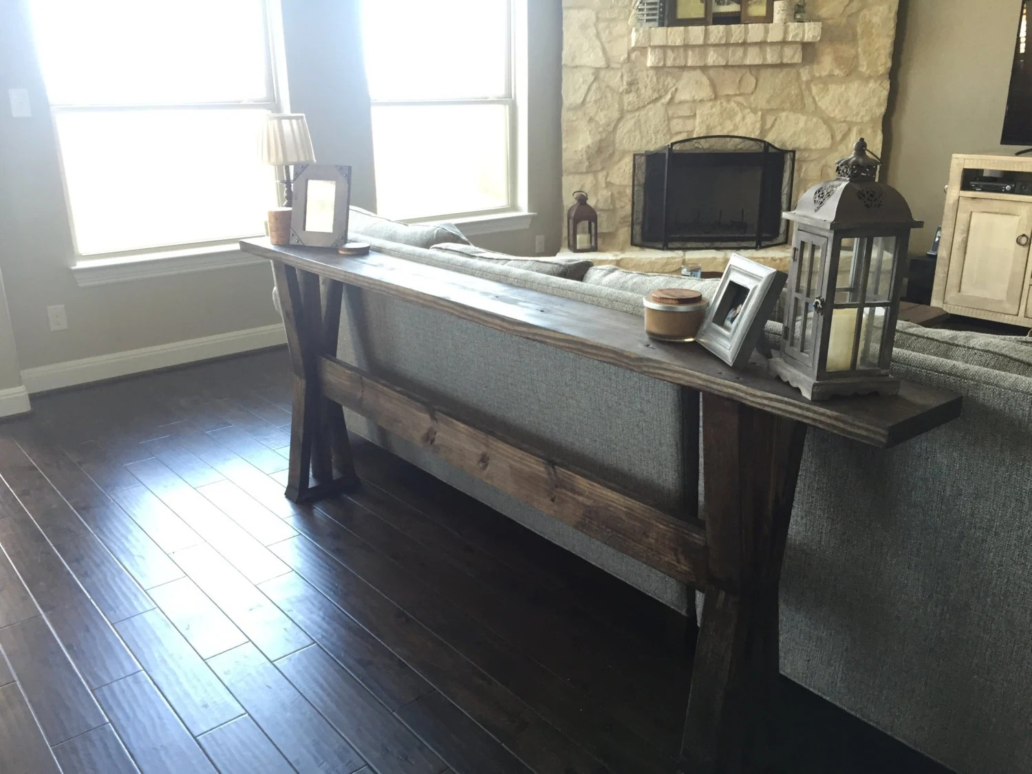 behind the sofa table best leather sofas under 2000 couch etsy rustic entryway farmhouse austin tx local delivery or pickup only