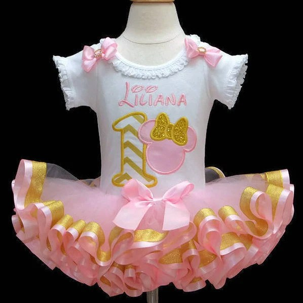 1st Birthday Girl Outfit Pink And Gold 1st Birthday Outfit Etsy