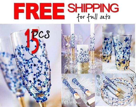 FREE SHIPPING Royal Blue And Gold Wedding Set Mr & Mrs