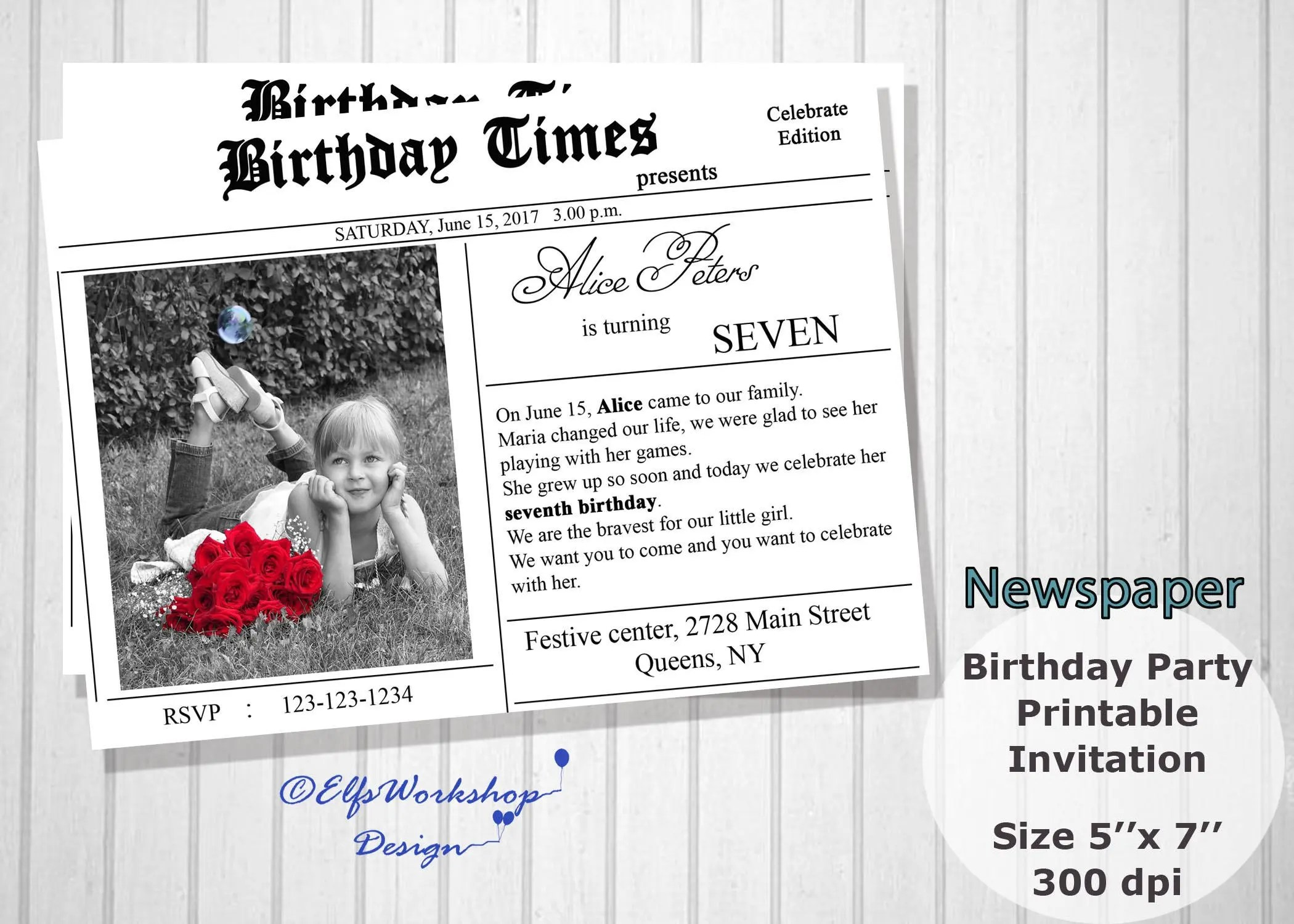 NEWSPAPER INVITATION or ANNOUNCEMENTS printable