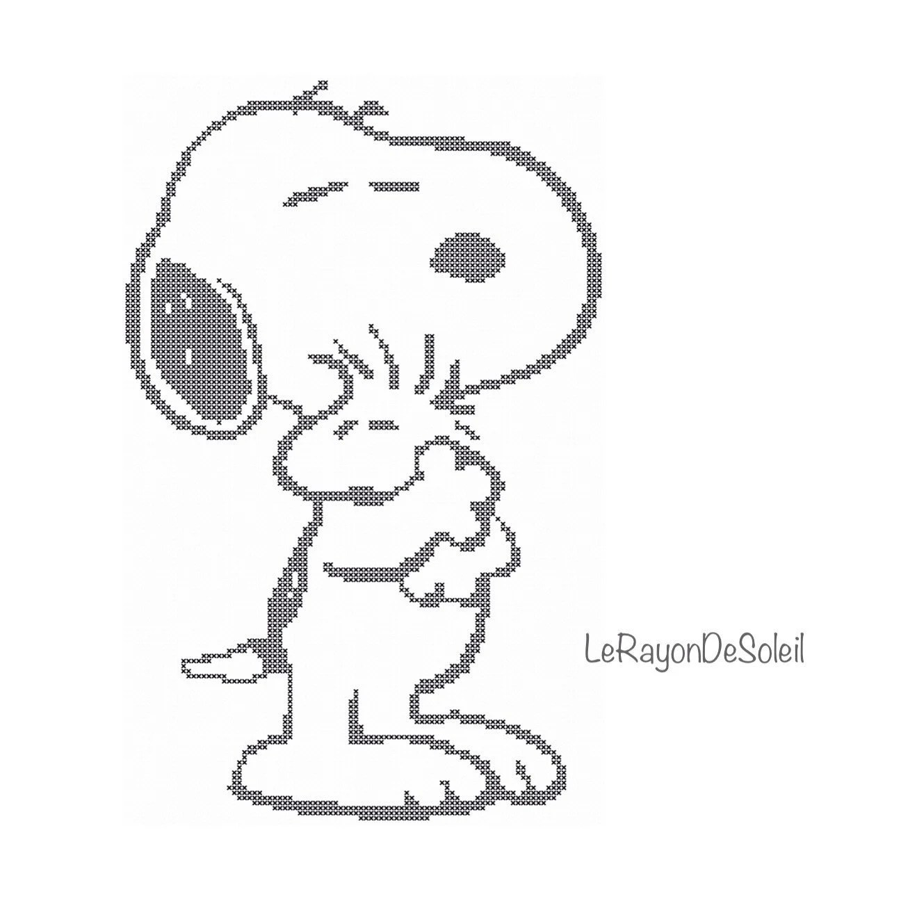 Cross stitch pattern Snoopy and Woodstock hug love friends