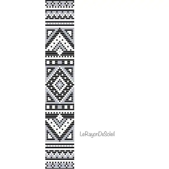 Bead loom pattern black white ethnic loom theme Bracelet