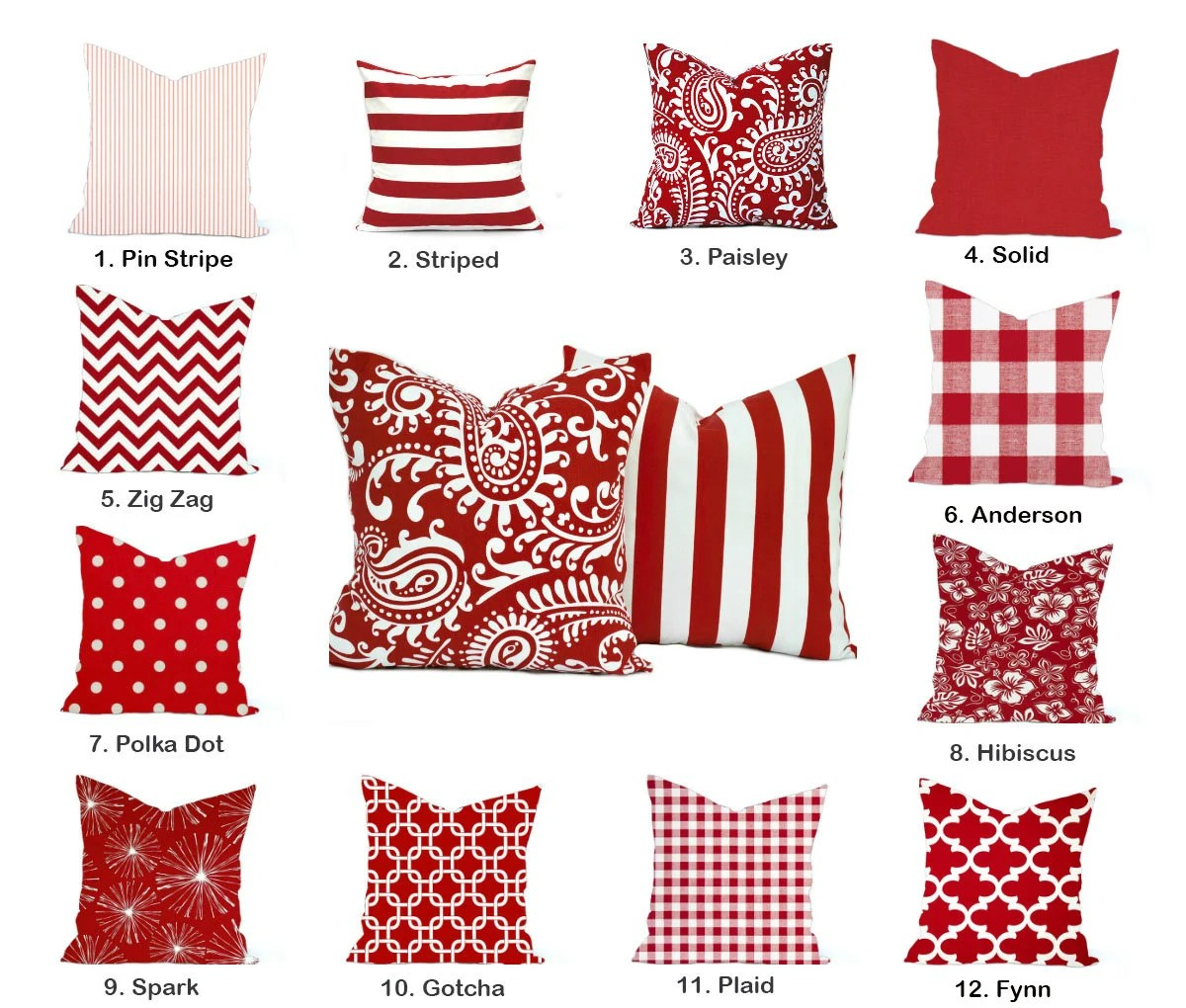 red pillow covers etsy