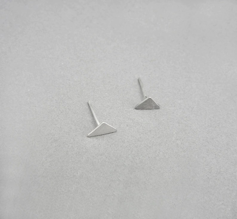 Tiny triangle post earrings Silver triangle earring studs