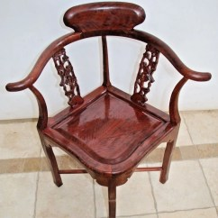 Wooden Corner Chair Blue Tufted Etsy Gorgeous Rare Burl Mahogany Sparrow Carved Back Theme Vintage
