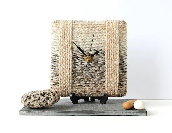 Beige Wool Clock by NaturalClocks