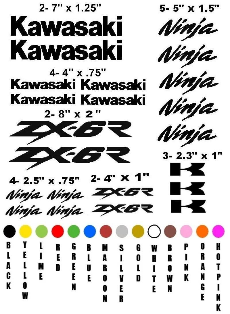 KAWASAKI ZX-6R NINJA motorcycle sticker decal kit race