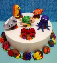 Fondant Sea Animals Complete 3D Cake Topper Set Turtle Sting