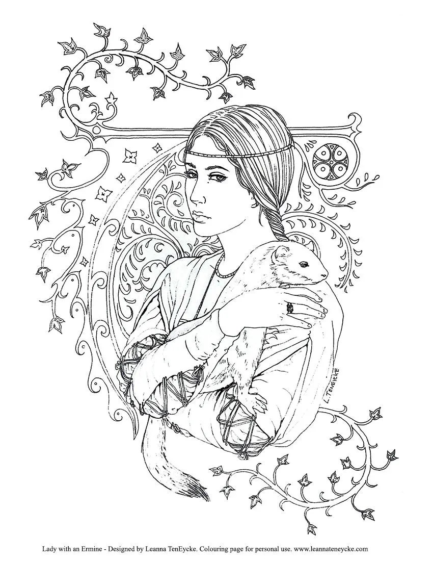 Colouring Page Renaissance Lady with Ermine Printable