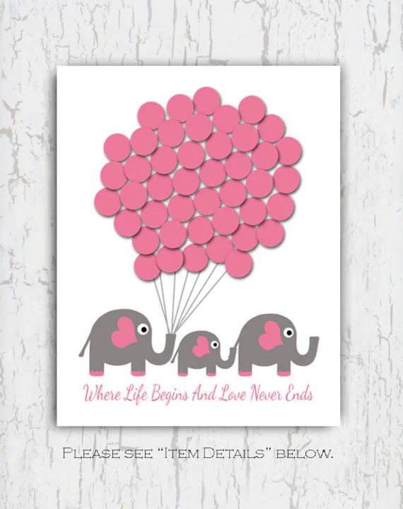 Baby Shower Guest Book Sign Printable : shower, guest, printable, Shower, Guest, Elephant, Guestbook