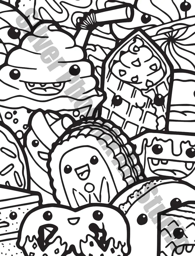 Kawaii Sweets Doodle Adult Coloring Page Printable Digital