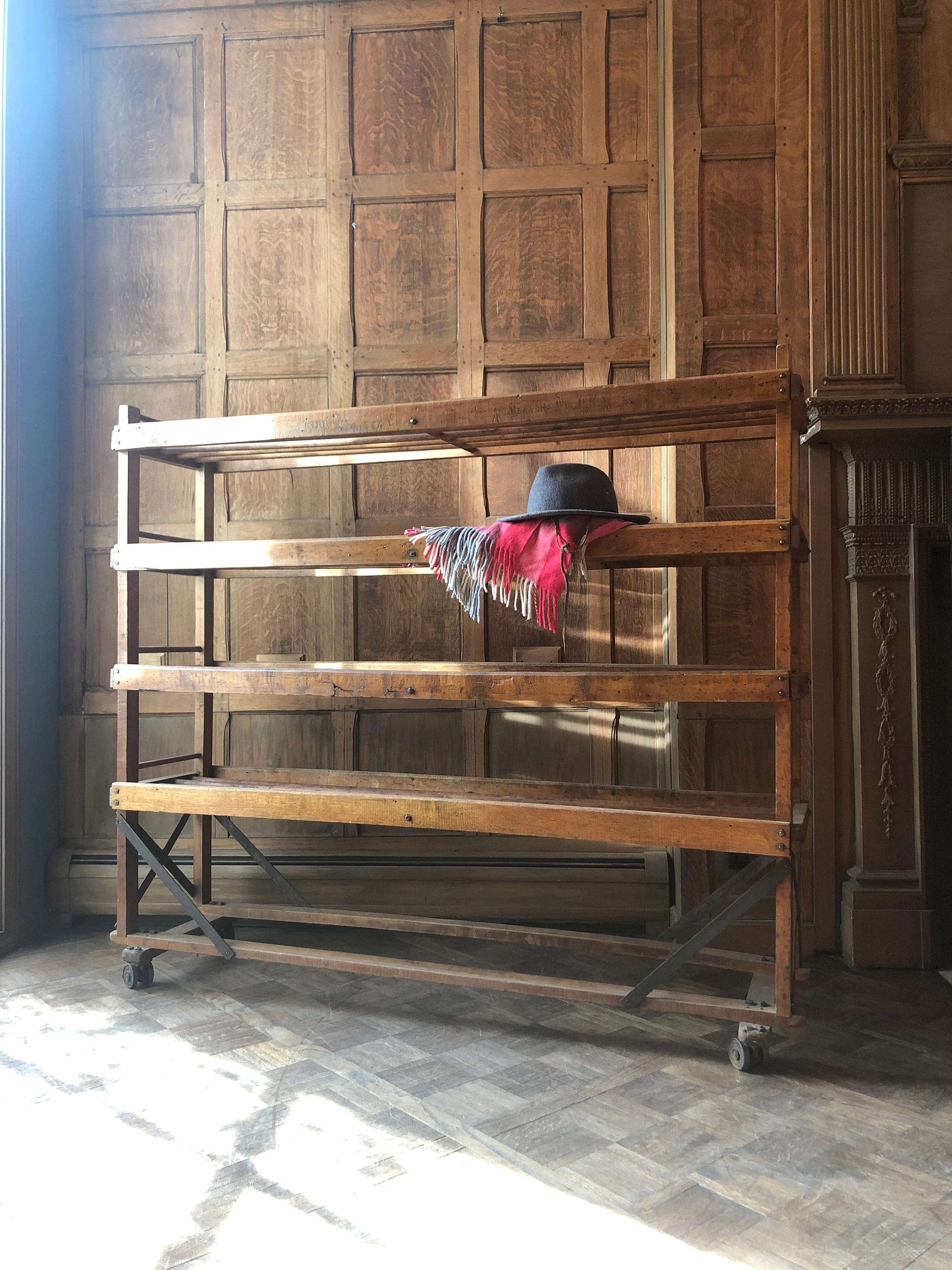 large antique bakers rack rolling wood