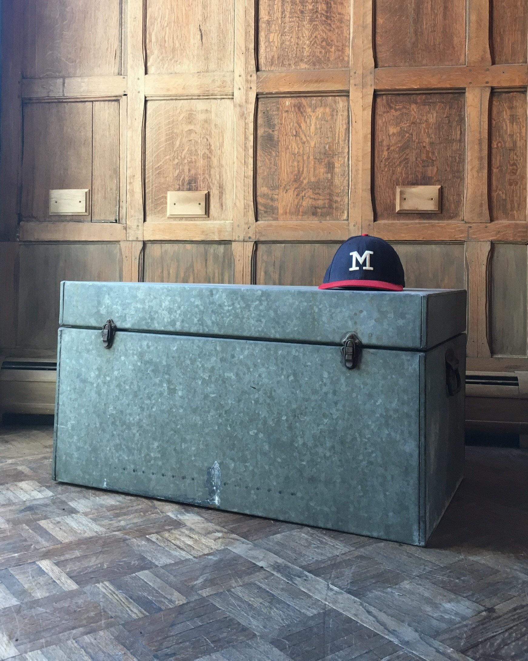 large vintage galvanized trunk