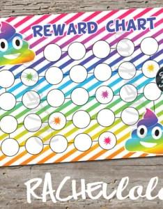 Rainbow poop emoji reward chart for kids printable instant digital download toddler potty training children sticker behavior chore also rh catchmyparty