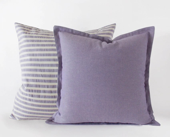 Set Of 2 A Lavender Purple Striped And A Plain Pillow