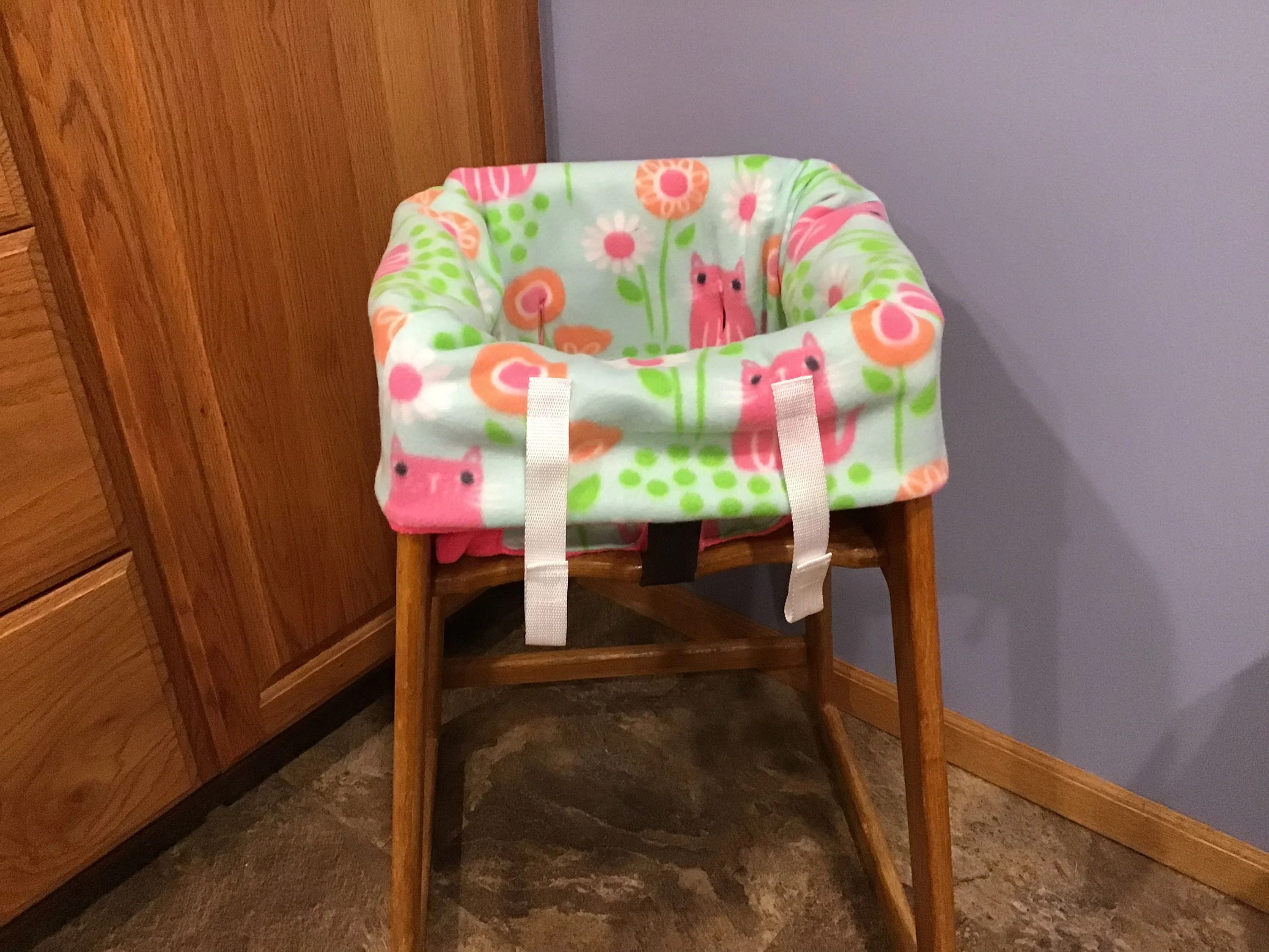 Restaurant High Chair Cover Restaurant Highchair Seat Cover Pink Kitties And Flowers