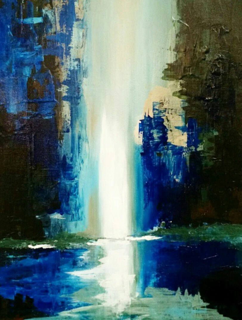 abstract acrylic waterfall painting