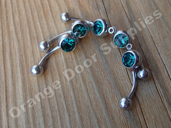 Emerald Green Add Charm Dangle Stone Belly Button Rings