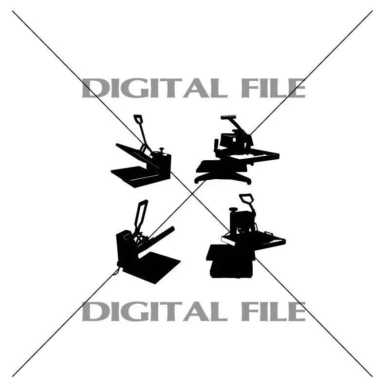 Four Heat Press Vector Images SVG Files Digital Cutting