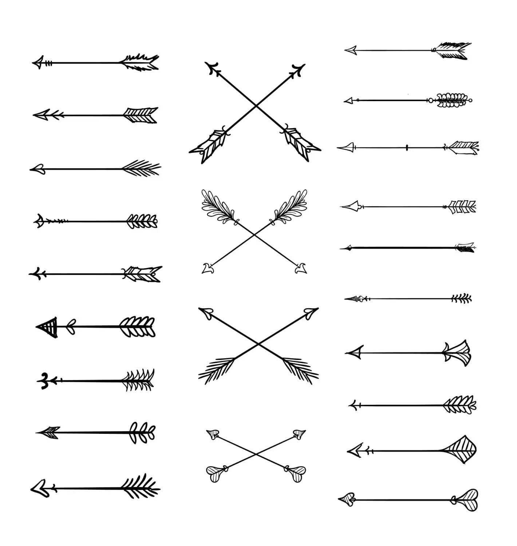 Doodle Tribal Arrows Clipart 23 Vector Arrows Hand