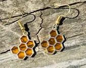 Honeycomb Earrings | Bee Jewelry | Honeycomb Jewelry | Bee Earrings