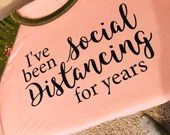 Social Distancing - Heat Transfer Vinyl T-Shirt Decal Only - Shirt Not Included