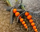 Craft Kit : Wood Bead Carrots - Set of 2 Carrots | Not a finished product - Kit only