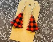 Plaid Christmas Tree Earrings