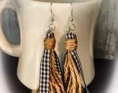Tassel dangle earrings - black and white buffalo plaid jewelry - gingham and twine - Rae Dunn inspired earrings