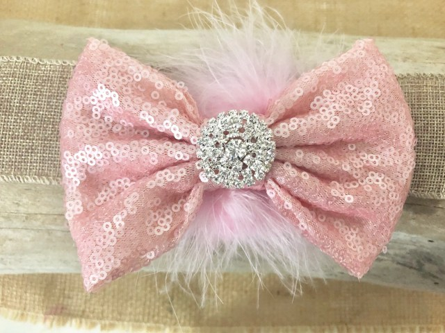 pale pink hair bow, vintage hair bow, flower girl bow