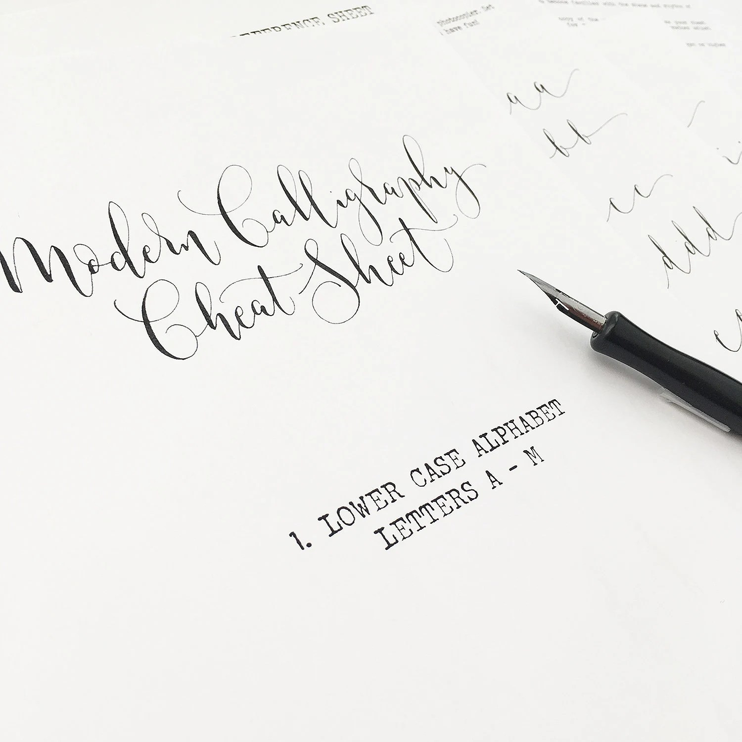 Calligraphy Cheat Sheet 1 Of 9 Lower Case Letters A To M Instant Download Calligraphy