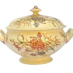 Antique Transferware Soup Tureen With Lid Luneville French Ceramic Dinnerware Serving Bowl