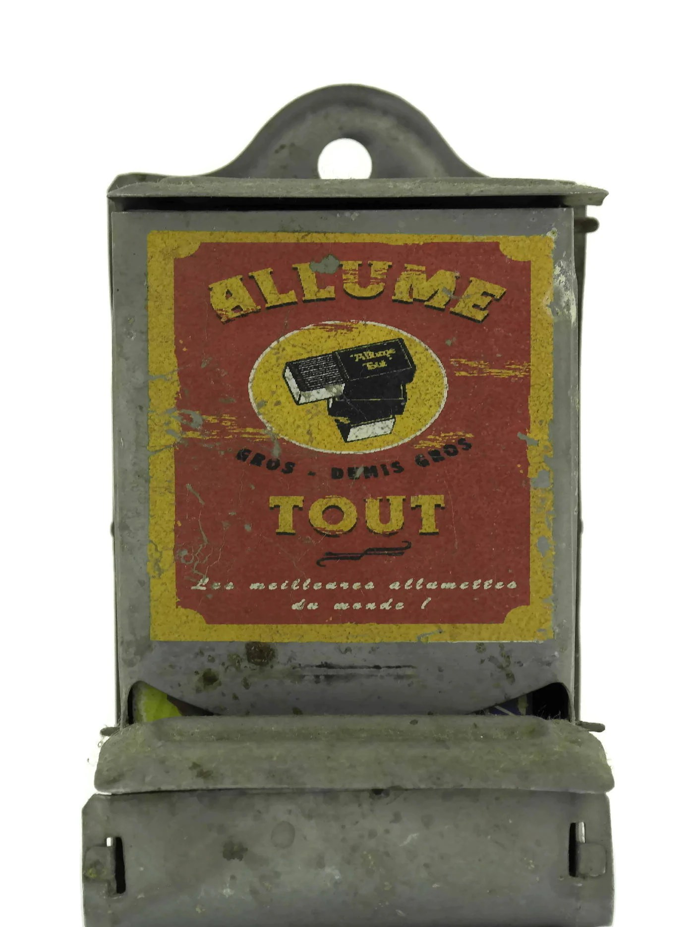Vintage French Tin Matchbox Rustic Kitchen Dcor French