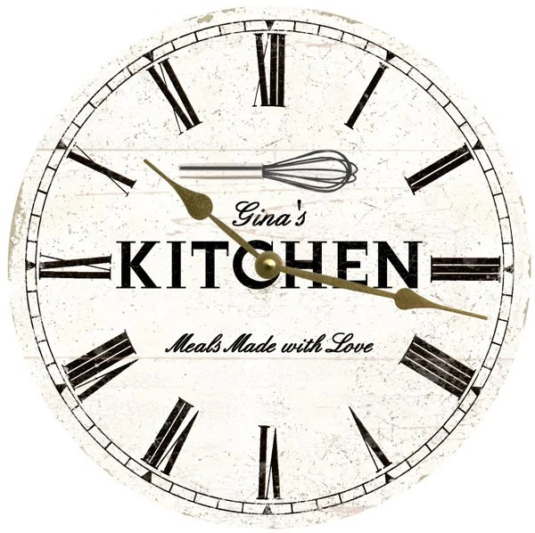 kitchen wall clocks best tile for floor clock etsy personalized white rustic