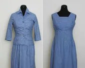 1950s Blue Striped Dress ...